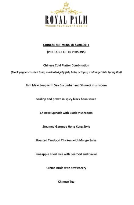 ROYAL PALM - CHINESE SET DINNER MENU